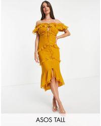ASOS Платье Миди На Пуговицах Спереди С Открытыми Плечами И Оборками - Желтый