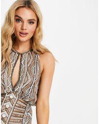 ASOS Декорированное Платье Мини С Асимметричным Подолом И Высоким Воротом - Коричневый