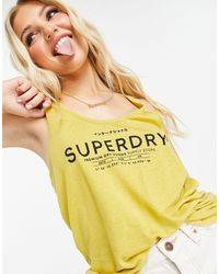 Superdry Lara Broderie Stripe Vest Top - Yellow