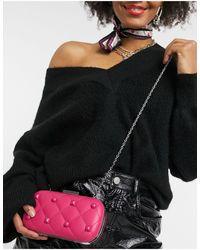 Love Moschino Розовый Стеганный И Шипованный Клатч С Цепочкой