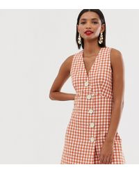 Mango - V Neck Button Front Dress In Gingham - Lyst