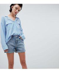 Weekday – e Boyfriend-Shorts mit hochgerolltem Saum - Blau