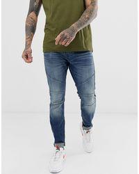 Hollister Jeans super skinny lavaggio medio con dettagli moto - Blu