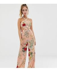Boohoo Wide Leg Jumpsuit In Pink Floral With Cut Out Detail