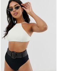 ASOS - Contrast Halter Crop Bikini Top - Lyst