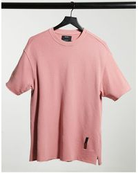 Bershka Washed T-shirt With Raw Edge - Pink
