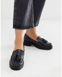 London Rebel - Loafers Met Dikke Zool, Kwastjes In Zwart Imitatiekrokodillenleer - Lyst