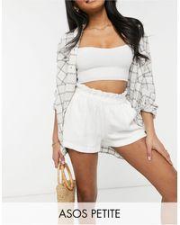 ASOS Asos Design Petite Washed Linen Suit Shorts With Paperbag Waist - White