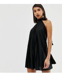 19cd27f719e0 ASOS Petite Star Glitter Mini Dress in Black - Lyst