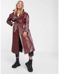 Palones Croydon Burgundy Pu Trench Coat - Red