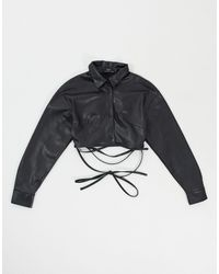 Bershka Cropped Faux Leather Shirt With Wrap Around - Black