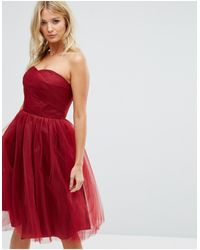 Hell Bunny Bandeau Tulle Dress - Red