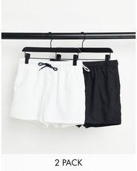 ASOS Набор Из Двух Коротких Шорт Для Плавания (черные / Белые) - Черный