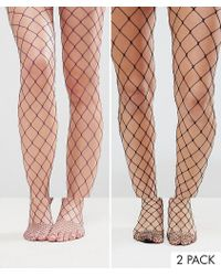 ASOS - 2 Pack Oversized Fishnet Tights In Black And Purple - Lyst