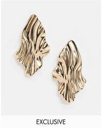 Accessorize Exclusive Sculptural Metal Stud Earring - Metallic