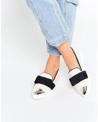 Miss Kg Lisa Cream Slip On Silver Toe Cap Skater Shoes - Black