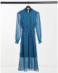 New Look Платье Миди С Синим Цветочным Принтом -черный Цвет