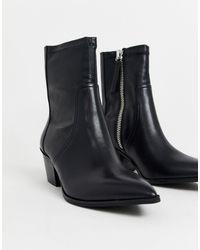ALDO Batis - Leren Sock Boots Met Stretch - Zwart