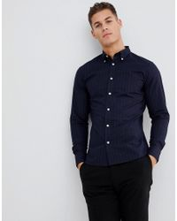 SELECTED Slim Fit Button Down Collar Shirt With Faint Stripe