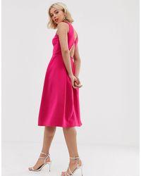 True Violet Cut Out Back Skater Dress - Pink
