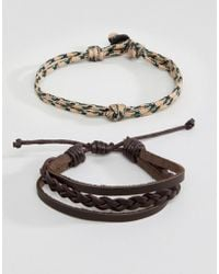 Icon Brand - Leather & Corded Brown Bracelet In 4 Pack - Lyst