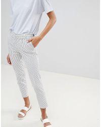 Stradivarius Stripe Print Trousers - White