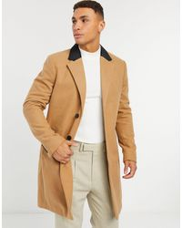 French Connection Single Breasted Over Coat With Velvet Collar - Brown