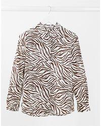 Mango Zebra Button Down Shirt - Multicolour