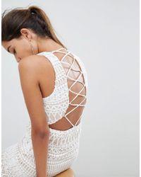 Love Triangle Robe courte rayée à lacets - Blanc