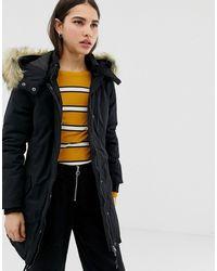 ONLY Sarah Parka Coat With Faux Fur Hood - Black