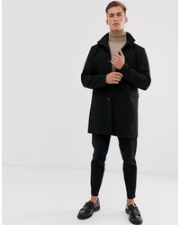 SELECTED Recycled Wool Overcoat With Funnel Neck - Black