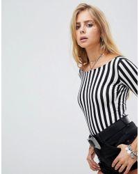 Motel Scoop Back Long Sleeve Body In Monochrome Stripe - Black