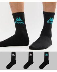 Kappa - 3 Pack Banda Socks In Black - Lyst