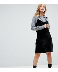 Noisy May Petite - 2 In 1 Sweat Velvet Mini Dress With Hood In Black - Lyst