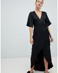 Minimum - Moves By Flutter Sleeve Maxi Wrap Dress - Lyst