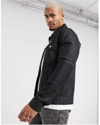 ASOS Denim Jacket With Biker Panels - Black