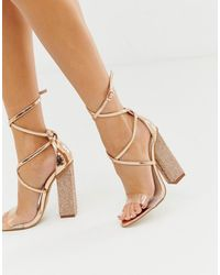 ddb6083b76862 Public Desire Sparkle Rose Gold Diamante Clear Detail Tie Up Heeled ...