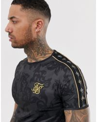 SIKSILK T-shirt In Black Print With Side Stripe
