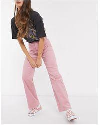 Monki Yoko Wide Leg Cord Trousers - Pink