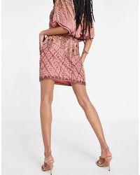ASOS Embellished Mini Skirt Co-ord With Mini Splits - Pink