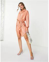 Skylar Rose Robe chemise satinée nouée à la taille - Corail - Orange