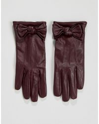 Oasis Bow Leather Glove - Red
