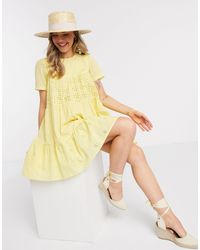 ASOS - Mixed Broderie Mini Smock Dress - Lyst