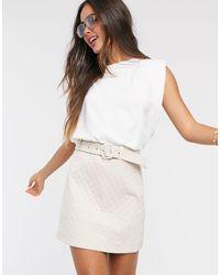 Fashion Union – Gesteppter Minirock - Weiß