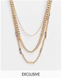 Reclaimed (vintage) Золотистое Многорядное Ожерелье Из Цепочек Inspired-золотистый - Металлик