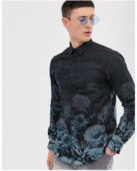 Twisted Tailor Chemise ultra ajustée à imprimé fleuri effet dégradé - Bleu marine