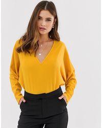 AX Paris Боди С V-образным Вырезом -желтый