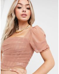 Missguided Corset Crop Top With Tulle Detail - Multicolour