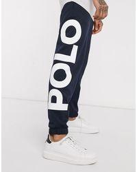 Polo Ralph Lauren Oversized joggingbroek Met Grote Print En Spelerslogo - Blauw