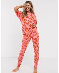 ASOS – Pyjama mit T-Shirt und Leggings mit Hummer-Design - Rot